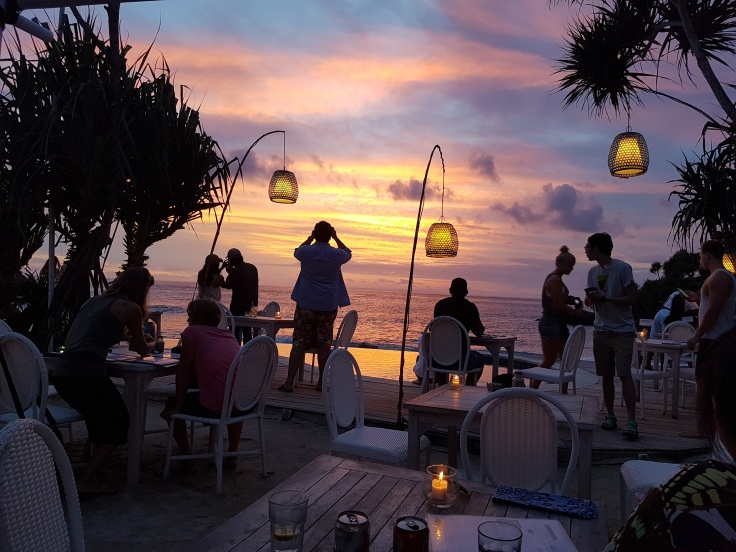 Sunset at Sandy Bay Beach Club, Sunset Beach, Nusa Lembongan, Indonesia
