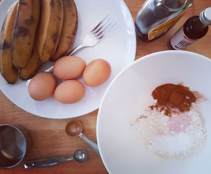 Ingredients for gluten, dairy, and refined sugar-free, paleo banana bread